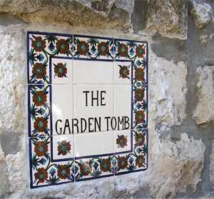 Entrance to the Garden Tomb in Jerusalem, Israel.
