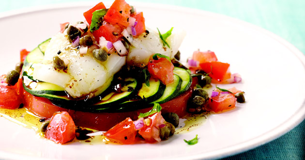 Photo of Sole, Zucchini, and Tomato Napoleon with Tomato-Caper Crudo